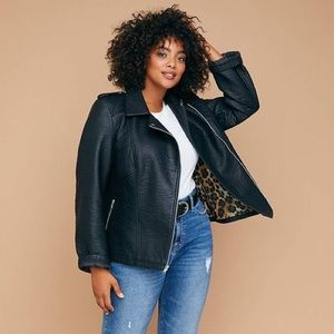 LANE BRYANT Faux Leather Moto Jacket